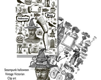 Steampunk Halloween clip art vintage victorian clip art with a halloween design instant download collage sheets