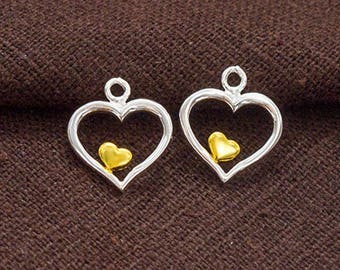 2 of 925 Sterling Silver Heart Charms 11mm. Two Tone Gold & Silver .  :tt0004