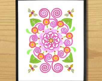 Spring Garden Wall Art, Flower Print, Bee Digital Print, Nature Art, Gardening Print, Digital Download