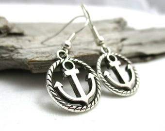 Silver Anchor Earrings - Nautical Jewelry - Boat Lover Earrings - Earrings for Sensitive Ears - Anchor Gift - Anchor Earrings