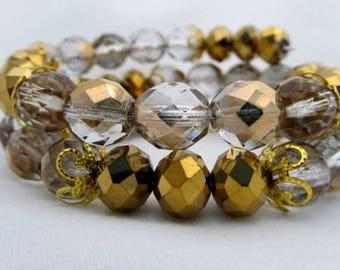Gold crystal memory wire bracelet 3 coils elegant