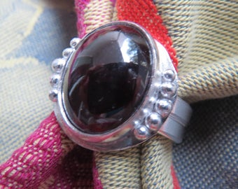 Large Genuine Garnet in Granulated Silver Ring Size 7 & a Quarter
