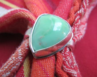Apple Green Lucin Variscite Triangle in Asymmetrical Sterling Ring Size 10