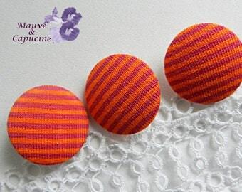 Button striped orange and fuchsia, 24 mm / 0.94 in diameter