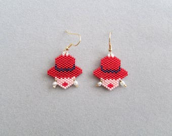 Red Hat Lady Beaded Earrings