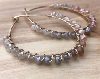 Moonstone Hoop Earrings, Grey Peach Moonstone Hoops, Grey Stone Earrings, Stone Wrapped Earrings, Gemstone Earrings, Natural Stone Earrings
