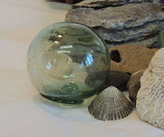 Rare Vintage Japanese Glass FISHING FLOAT.. Bubbles, Moss Green & Makers Seal Mark (#1)