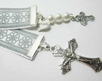Christian Ribbon Bookmark Baptism Confirmation Gift Bible Bookmark Gray Flower Pattern Rhinestone Cross Baptism Heart 153B