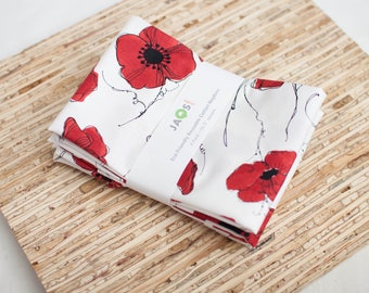 Large Cloth Napkins - Set of 4 - (N5546) - Red Poppies Floral Modern Reusable Fabric Napkins
