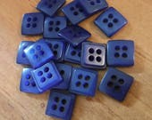 "10 Blue Double Square Buttons Size 5/16""."