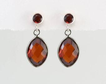 Garnet Earrings - January Birthstone Earrings - Silver Garnet Earrings - Small Drop Earrings - Post Earrings - Green Earrings