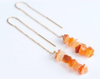 Raw Fire Opal Earrings - Ear Thread Earrings - Ear Threader - Minimal Jewelry - Long Gold Dangle Earring - October Birthstone Jewelry