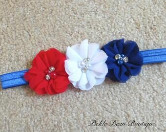Red White Blue Headband, 4th of July Headband, Fourth of July Baby Girls Headband, Infant Headband, Patriotic Flower Head Band
