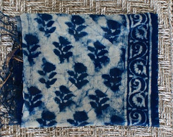 Stunning Amazingly Gorgeous Chunky Indian Hand Block Printed Fabric Scarf, Wrap, Throw, Shawl 100%  Cotton Voile and Silk Indigo