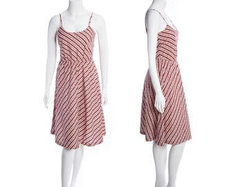 70s Lanz day dress -- vintage red and white striped dress -- 70s strappy midi dress --