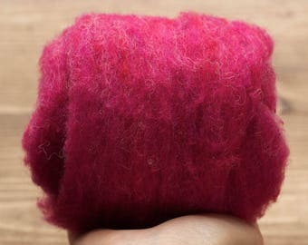 Raspberry Needle Felting Wool, Wool Batting, Batts, Wet Felting, Spinning, Dyed Felting Wool, Fuchsia, Berry, Fiber Art Supplies