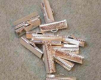 20mm crimp, Silver Metal Crimp, Ribbon Crimp End, Necklace crimp, cord end clasp, ribbon clamp, leather crimp end, necklace crimp