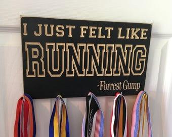 I Just Felt Like Running Forrest Gump Wall Mounted Hanging Running Medal Holder Display Hanger CNC Engraved Hooks Marathon 5K 15K 13.1 26.2