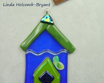 Fused Glass Birdhouse Ornament