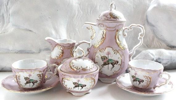 Green or Pink & Gold Unicorn Tea Set, Unicorn Teacup, Tea