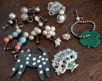 Mid-Century Jewelry Findings, Pearl Earrings ,Cloverleaf, Spotted Cat, Screwback Earrings, Floral  Flower Fan Earrings. Dangle Gems