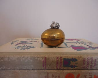 Vintage Brass Egg with silver plate rabbit on top, miniature brass egg