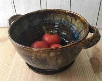 Ceramic Berry Bowl, Pottery Colander, Ceramic Strainer, Handmade Pottery Gifts for the Cook,  Pottery Berry Bowl & Drip Plate