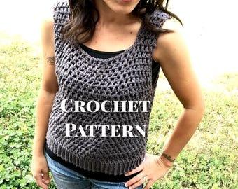 Crochet Tank Top Pattern, Obi Sleeveless Tee Crochet Pattern, Instant PDF Download
