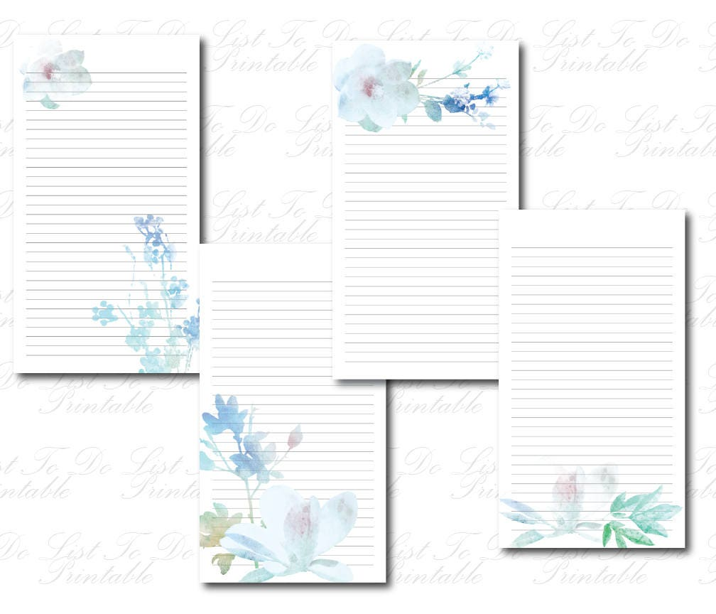 Printable Floral To Do List Lined Paper Flower To Do List Blue