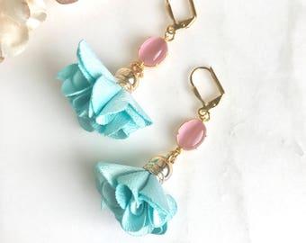 Colorful Tassel Earrings in Turquoise and Pink. Gold Tassel Dangle Earrings.