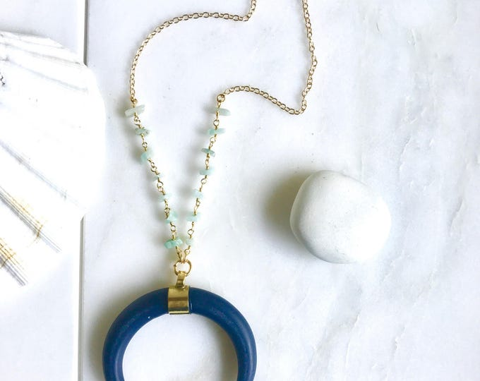 Long Crescent Necklace in Navy and Aqua. Long Gold OOAK Beaded Necklace. Long Boho Style Necklace. Long Layering Necklace. Jewelry.