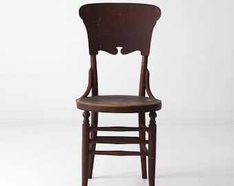 antique accent chair, round seat wood cafe chair