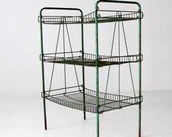 industrial wire rack, vintage green metal shelf