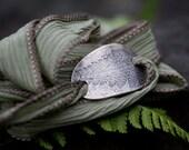 Silk Bracelet, Silk wrap, Sterling Silk Bracelet, Fern Silk Wrap, Fern Emboss, Rustic Jewelry