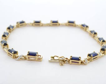10k Yellow and White Gold Lab Created Blue Sapphire and Diamond Tennis Bracelet