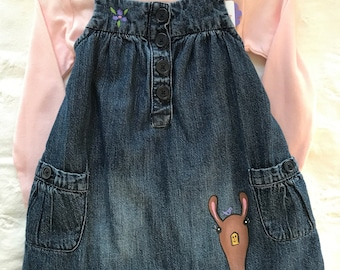 Llama love dress overalls, baby girl size 6-12 month only, one of a kind dress handpainted upcycled jean dress