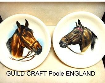 2 Horse mini plates Hand painted Vintage GUILD CRAFTS Ltd  Poole England Home Decor China