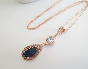 Rose Gold Necklace, Bridal Necklace, Blue Brida Necklace, Sapphire Necklace, Bridesmaid Jewelry, Cubic Zirconia Wedding Necklace, Pendant