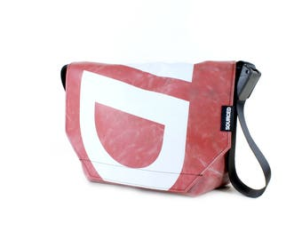 Large Messenger Bag made from Recycled Truck Tarp, Man Bag, Satchel Style Bag, MacBook Bag (61.02)