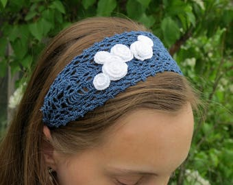 Crochet Pattern PDF for Lace Headband with Rose Cluster Corsage, Wedding or Bridal Headband pattern