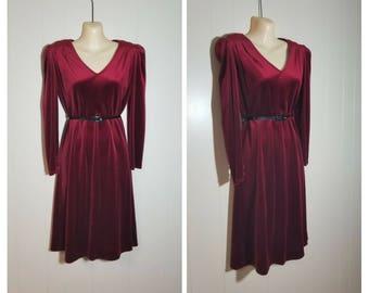 Fire Lake  ..... vintage 70s 80s dress / red velvet velour puff sleeve / boho American Hustle disco midi day dress ... S M 40 bust
