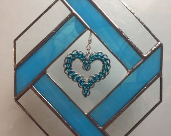 Mixed media - stained glass/chainmaille diamond framed heart