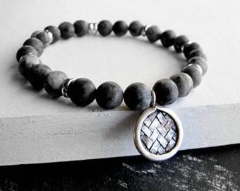 Men's Bracelet Sterling Silver Black Moonstone Bracelet Men Healing Bracelet Men's Beaded Bracelet Men Stretch Bracelet Men's Boho Jewelry