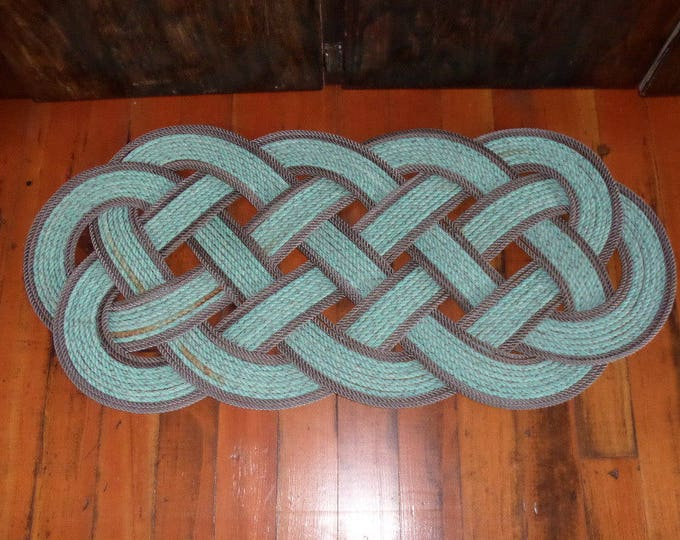 """40"""" x 18"""" Rope Rug Green with Double Brown Accent Perfect at Lake, Beach, Cabin,Nautical Decor Doormat Tuquoise Teal"""