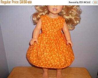American 18 Inch doll clothes dress yellow orange swirls