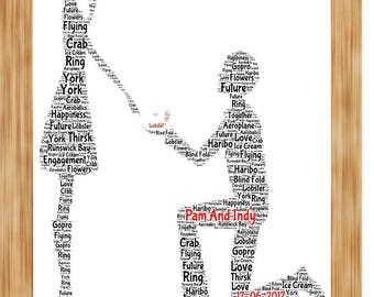 Engagement present Engaged Couple personalised Word Art Print Gift