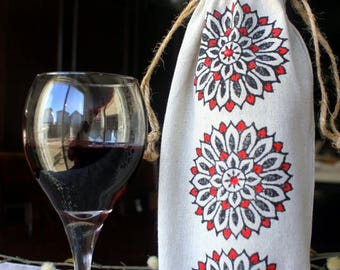 Hand Block Printed Drawstring Wine Bag, Hand stamped Eco-friendly wine bag, Linen Wine Bag