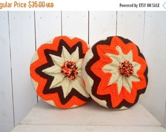 "34% Off Sale - Vintage Crochet Pillows - 1960s Retro Chevron Striped Pillows - 13"" Round Pom Pom Couch Pillows - Set of 2"