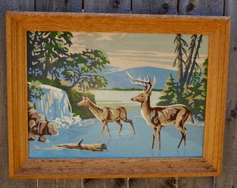MId Century Paint by Number Deer and Waterfall