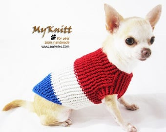Red White Blue knitted dog sweater size Medium, July 4th Dog Sweater, 4th of July Pet Clothes DK953 by Myknitt - Free Shipping